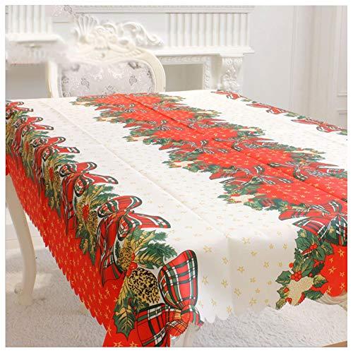 Amacoam Mantel de Navidad Tela Mantel Antimanchas Rectangular Lavable Patrón de Arco Manteles Mesa Rojo y Blanco Decoraciones de Mesa Decoración de Navidad Decoracion Hogar 150x180 cm