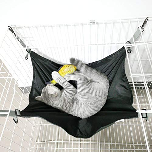 Shoplifemore Hamaca para gato, gato, hielo, seda, lavable, cama de verano para gatos, gatito, suministros para dormir para animales pequeños (2 unidades, 42 x 56 x 0,3 cm), color negro