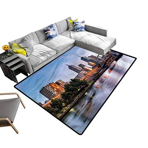 City, Carpet Floor Mat Morning Australia River Non-Slip Machine Washable Rugs for Residential or Commercial Use, 6'x 9'