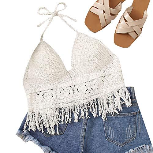 MakeMeChic Women's Summer Boho Crochet Backless Bikini Halter Crop Top Swimsuit Swimwear Beige one-size