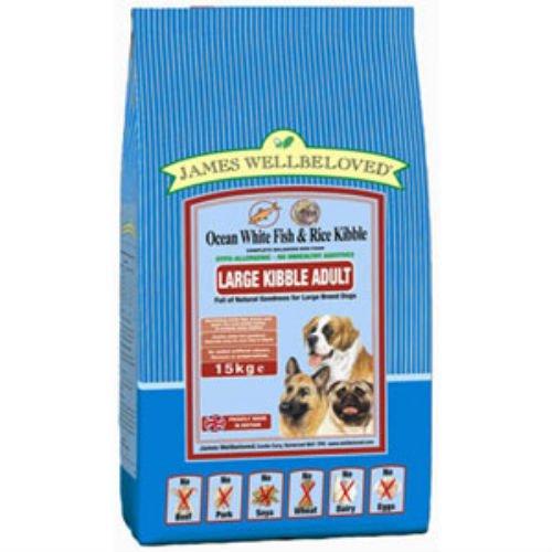 James Wellbeloved Croquettes Grande Race de chien adulte complète Nourriture pour chien avec poisson et riz 15 kg