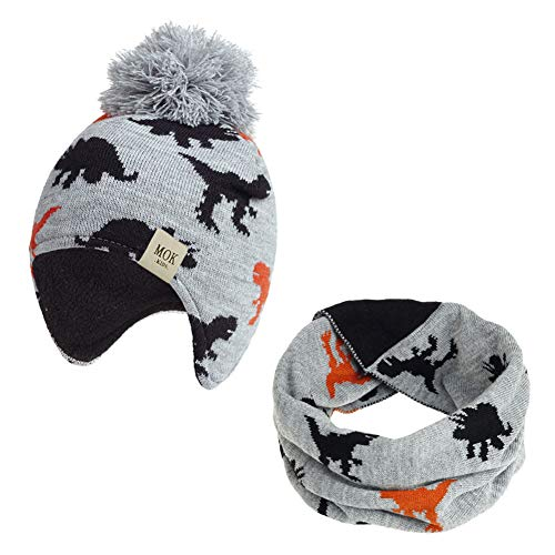 Vobony Sombrero y Bufanda Conjunto Niños Niñas Invierno Otoño Bufandas del Bebé Gorro de Punto con Pompon Forro Polar Patrón de Dinosaurio Sombrero de Lana Cuello Caliente (Gris Claro, 3-18 Meses)