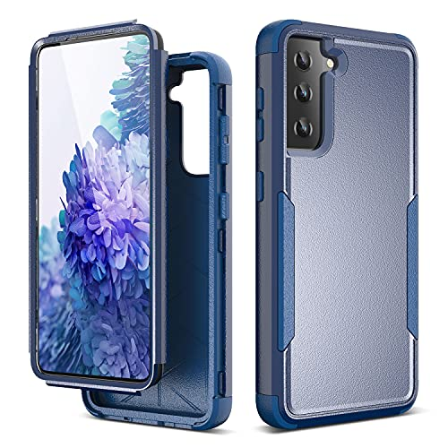ULAK Funda compatible con Galaxy S21 5G, 3 en 1 resistente a prueba de golpes Funda de TPU suave Bumper Funda protectora para Samsung Galaxy S21 6.2 pulgadas - Azul