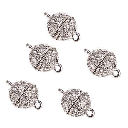 PandaHall Elite - 10 cierres magnéticos redondos de aleación con brillantes para joyas artesanales, platino, 17 x 12 mm, agujero: 2 mm ⭐