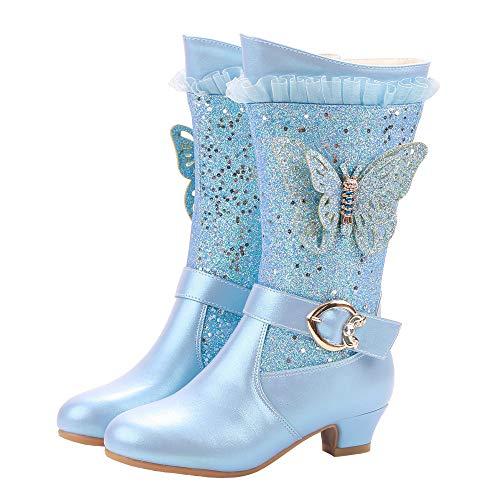 FStory&Winyee Mädchen Schneestiefel Prinzessin ELSA Schuhe Schmetterling Stiefel Kinder Winterstiefel Gefüttert Futter Warm Lederstiefel Outdoor Boot Schlupfstiefel Eiskönigin Kostüm Fasching