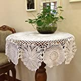 Hetao 100% Cotton Handmade Crochet Round Tablecloth Doilies Lace Table Covers ,White, 27 Inch