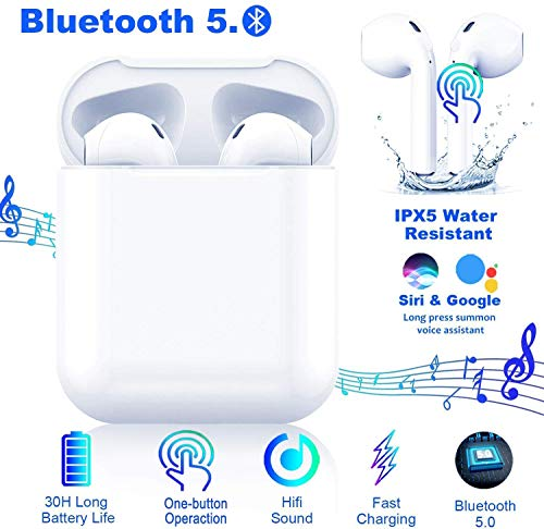 Bluetooth 5.0 Headphones,Smart Button Control Wireless Earbuds,Noise Canceling 3D Stereo IPX5 Waterproof in-Ear Sports Earphones, with Portable Battery Case for Apple Airpods Android/iPhone