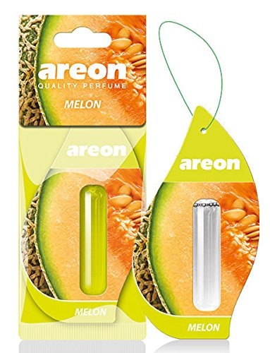 AREON Liquido Ambientador Coche Melón Olor Fruit Casa Perfume Mini Colgar Colgante Verde Retrovisor Oficina 3D 5ml (Melon Pack de 1)