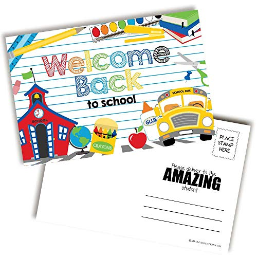 School Supply Themed Welcome Back To School Blank Postcards For Teachers To Send To Students, 4'x6' Fill In Notecards by AmandaCreation (30)