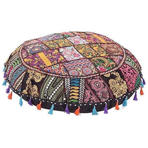 GANESHAM indio hecho a mano Vintage Patchwork algodón boho chic bohemio bordado a mano decorativo étnico pie taburete redondo suelo almohadas & funda de cojín asiento puf otomano