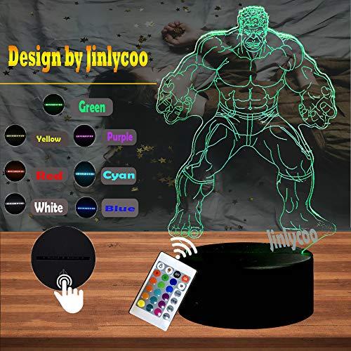 CartoonMarvel Avengers Super Hero Figur Thanos 3D LED Nachtlicht 7 Farben USB Fernbedienung Wechseln Unendlichkeit Gauntlet Thema Tischlampe für Schlafzimmer Stimmung Lava Junge Freunde Geschenk Kinder Spielzeug (Marvel Thanos)
