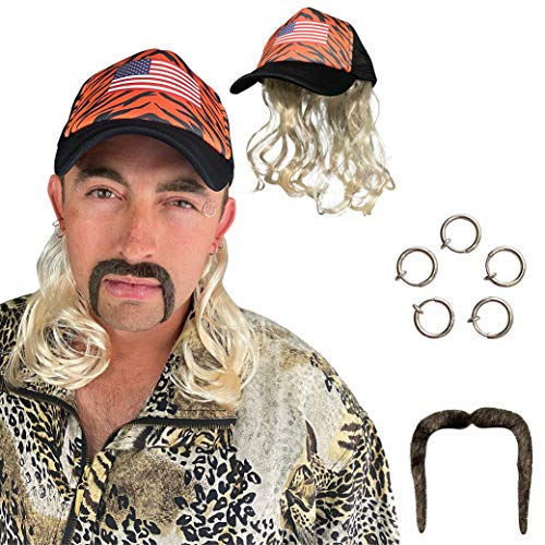 Tiger Joe Costume Set - King of Exotic Cats Cosplay - Blonde Mullet Wig with Hat, Clip Earrings, and Mustache - Fits Kids and Adults