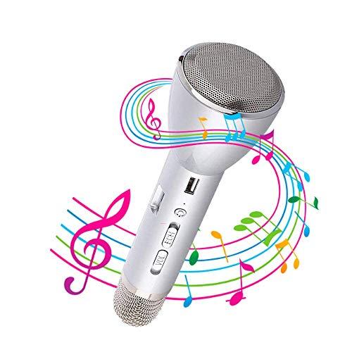 NK - Microfono karaoke portatile con Bluetooth e altoparlante, alimentazione 3W, 10 misuratori Bluetooth, Android e iOS, colore argento