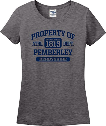 Utopia Sport Property of Pemberley Derbyshire Jane Austen Pride and Prejudice Ladies T-Shirt (S-3X) (X-Large, Graphite Heather)