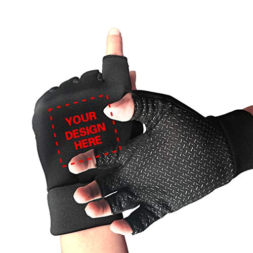 Custom Non-Slip Gel Half Finger Cycling Gloves Personalized, Add Your Own Text Image Men's Women's Shock Absorbing Exercise Gloves for Gym Weight Lifting Training Fitness Biking Driving