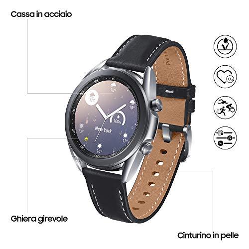Samsung Galaxy Watch3 Smartwatch Bluetooth, Cassa 41mm acciaio, cinturino pelle, Rilevamento cadute, Monitoraggio sport, Batteria 247 mAh, IP68, Argento (Mystic Silver) [Versione Italiana]