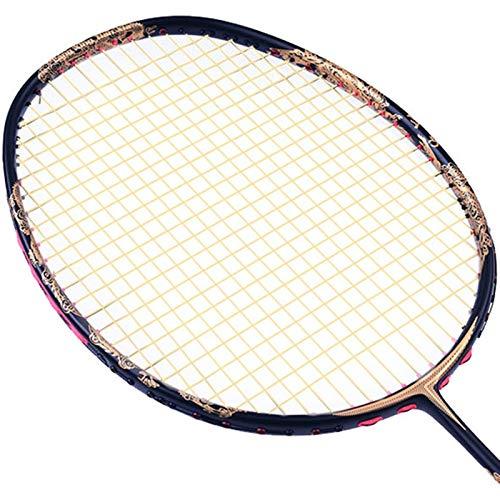 Raqueta Superior de bádminton Raqueta de bádminton Profesional de Fibra de Carbono Raqueta Ofensiva Raqueta elástica Duradera (Color : with Yellow String, Size : 67.5cm)