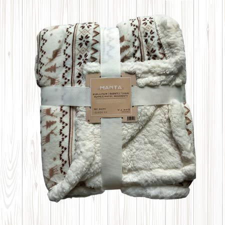 Manta de Coralina 130x160 cm para Sofá, Microseda, Borreguito, Suave, Extra Confort (Winter)