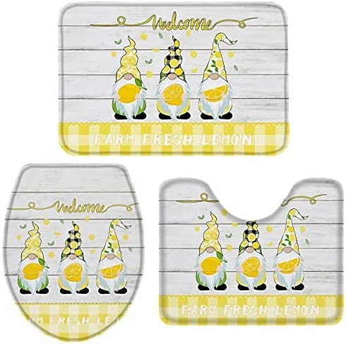 3 Pieces Bathroom Rugs and Mats Max 80% OFF Max 67% OFF Famrhouse Lemon Sets with Dwarfs