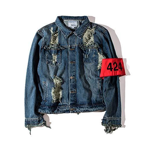 XIELH Heren Vrouwen Rits Motorfiets Patchwork Ripped Gat Denim Jas Streetwear Hip Hop Casual Distressed Jeans Jassen Man