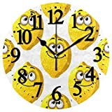 WIHVE Round Wall Clock Cartoon Yellow Lemons Smiling with Googly Eyes Silent Non Ticking Battery Operated Clocks for Living Room Bedroom Kitchen Home Decor