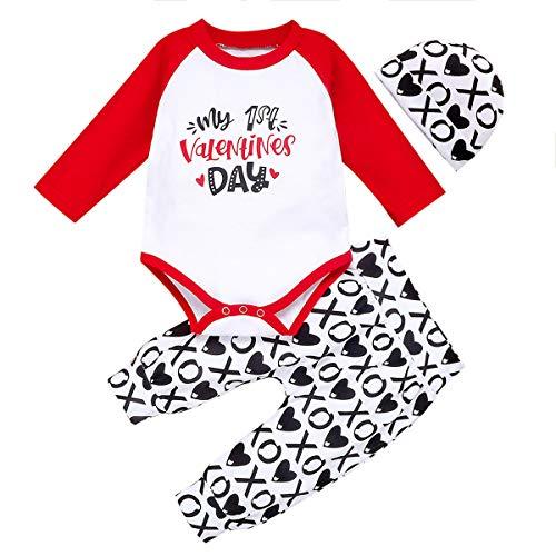 Geagodelia Conjunto de ropa de bebé para San Valentín My 1st Valentine 's Day de 3 piezas de pelele de manga larga + pantalón + gorro + pelele de algodón Negro 0-6 meses