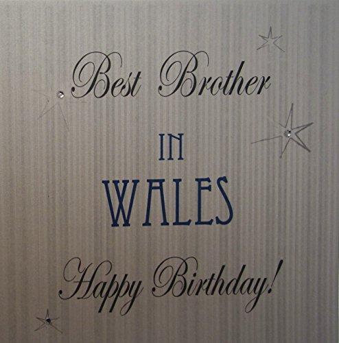 White Cotton Card-Best Brother In Wales Happy Birthday handgemaakte Town kaart met sterren