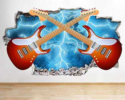 Muurtattoo muziek gitaar Rock Electric Smashed Muurtattoo 3D kunst sticker vinyl kamer kinderen slaapkamer baby kinderkamer poster woonkamer jongens meisjes muurschildering
