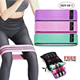 Resistance Bands for Women Butt and Legs -3 Level Resistance Bands - Non Slip Fabric, Elastic Exercise Bands Resistance Loops Bands with Carrying Bag