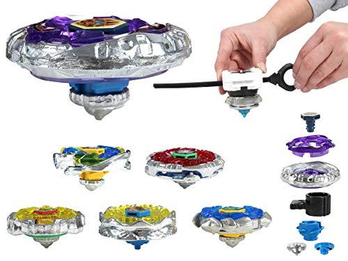Alsino Kampfkreisel Power Kreisel Turbo Spinner Spielzeug groß aus Metall (Kkr-02) - 1x Kreisel Plus Beschleuningslauncher - Farbauswahl erfolgt zufällig