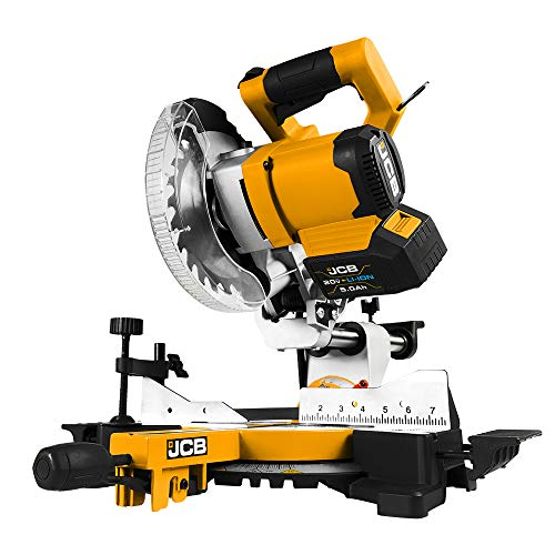 JCB Tools - 20V Cordless Brushless Miter Chop Saw Power Tool - Laser Light - For Straight Crosscuts, Bevel, Angled Cuts, Floor Boards and Laminate, Wood And Woodworking