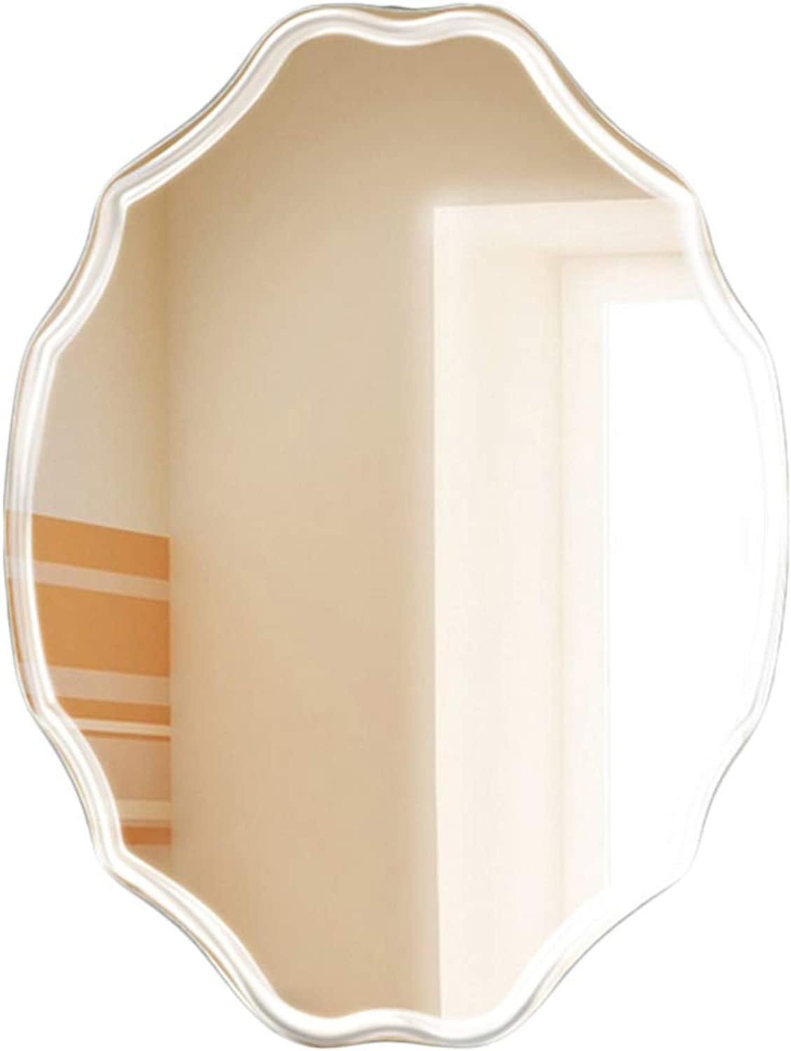 YANZHEN Mirror Wall-Mounted Frameless Car Engraved Hypotenuse Ultra-Clear Bathroom Simple and Modern Silver Mirror, 3 Sizes (color   Silver, Size   45x60cm)