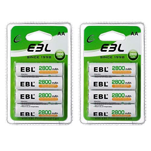 EBL 1.2V AA Batterie Ricaricabili Ad Alta Capacità,Pile Ricaricabili da 2800mAh Ni-MH con 1200 volte,Confezione da 8 pezzi