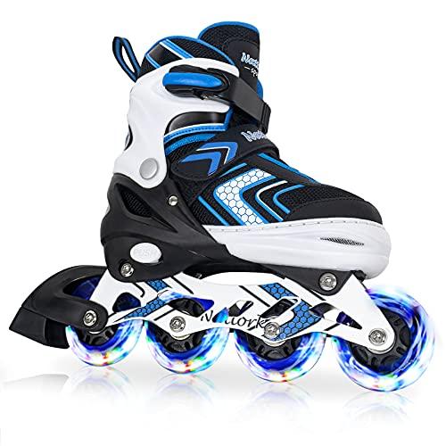 Inline Skates for Boys Kids, Adjustable Skates Outdoor Blades Inline for Boy Roller Skates for Children Teens Women with Light Up Wheels for Indoor Outdoor Backyard Skating Large (5-8US) ,Blu