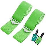 Verstellbare Gepäckgurte Koffergurt Set Kofferband mit Metallschnalle für Sichere Reisen 2 Gepäckgurte 2 Gepäckanhänger - grün