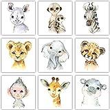 Frechdax Juego de 3 pósteres para habitación Infantil, tamaño DIN A4, diseño de Animales del Bosque, 9er Set 13x13cm, Safari, Tiere, Portrait, DIN A4