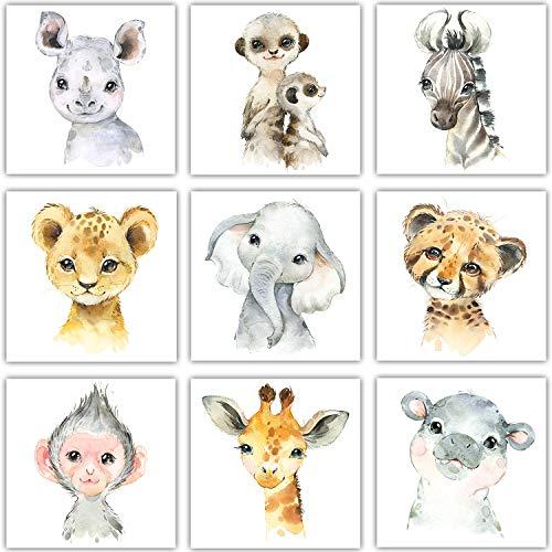 Frechdax® – Juego de 3 imágenes para habitación infantil, decoración para niños y niñas, DIN A4, pósteres/retratos de animales del bosque, safari, África