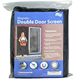 Fenestrelle Magnetic Screen Double Door - 72'W x 82'H. Black Trim. Fits Doors Up to 70'W x 80.5'H. for French and Sliding Doors. Self Closing Magnetic Seal. Heavy Duty Flame Resistant Fiberglass Mesh