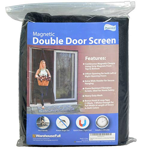 Fenestrelle Magnetic Screen Double Door - 72'W x 82'H. Black Trim. Fits Doors Up to 70'W x 80'H. for French and Sliding Doors. Self Closing Magnetic Seal. Heavy Duty Flame Resistant Fiberglass Mesh