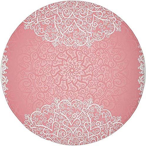 W-WEE Runder Teppich Matte Teppich, Hellrosa, Deckchen inspiriert süße Spitze Stil runde Motive mit verzierten komplizierten Herzen, Coral Whiteoom