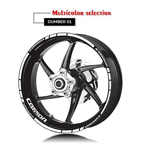 Anhuidsb Etiqueta Motocicleta neumático de la Rueda de la Etiqueta Interior del Borde Exterior Reflectante Logotipo Decorativo de la Etiqueta del Kit for Honda CB650R (Color : XT LQ cb650r Wht)