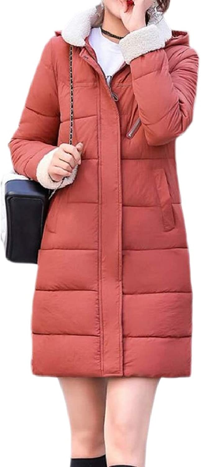 PujinggeCA Women Winter Thicker Hooded Mid Long Down Quilted Jacket Coat Outerwear