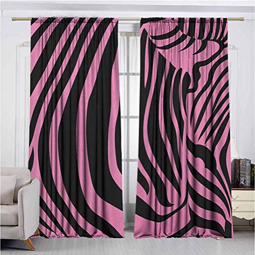 Pink Zebra Printed Curtain Draped Microfiber Curtain Vibrant Background Zebra Skin Artistic Avant Garde Tribal Punk Indie Wild High-Performance Privacy Protection W72 x L45 Inch