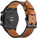 Leafboat Kompatibel Ticwatch S2/E2 Armband,Ticwatch S2/E2 Armband,22 mm Samsung Galaxy Watch 46mm Leder Ersatz Armband für Ticwatch Pro/Ticwatch S2/E2/Galaxy Watch 46mm--Braun