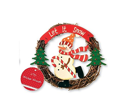 Christmas wicker wreath - Snowman with 'Let It Snow' greeting