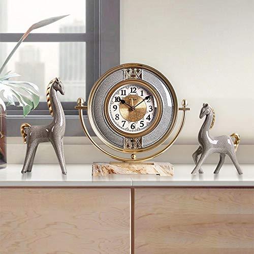 HY De Estilo Europeo Antiguo Antiguo Bronce Gris Decorativo del Reloj del Potro Oro De Cerámica De Silencio For No Tic De Reloj De 3 Piezas Habitación Sala De Cabecera De Entrada
