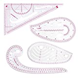 Yikuo Fashion Clear Metric Sewing Ruler Set, French Curve Pattern Ruler Kit for Beginners Tailors Designers (4-Piece Set)