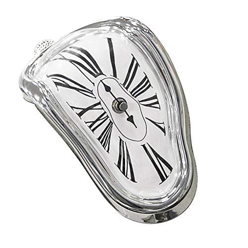 D DOLITY Surrealismus-Stil Kantenuhr Regaluhr Designuhr Uhr Bürouhr - Silber