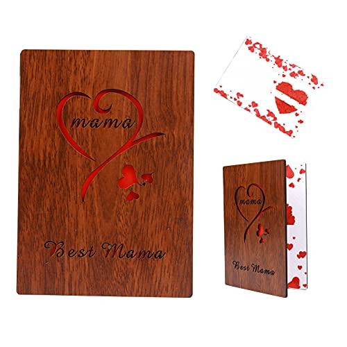 Tarjetas de madera para regalo del día de la madre, regalo de cumpleaños, tarjeta de felicitación para madre, mejor mamá del mundo, regalo de Navidad, San Valentín (rojo)
