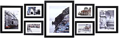 Gallery Wall Set 5x7 8x10 11x14,7 Pack Photo Frames,Elegant Black Solid Wood Photo Picture Frame with White Mats, Display Horizontal or Vertical, Tabletop Photo Frames Placed on Table Hang on Wall